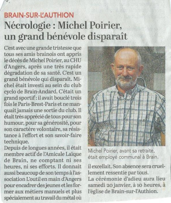 Disparition de Michel Poirier courrier de l ouest