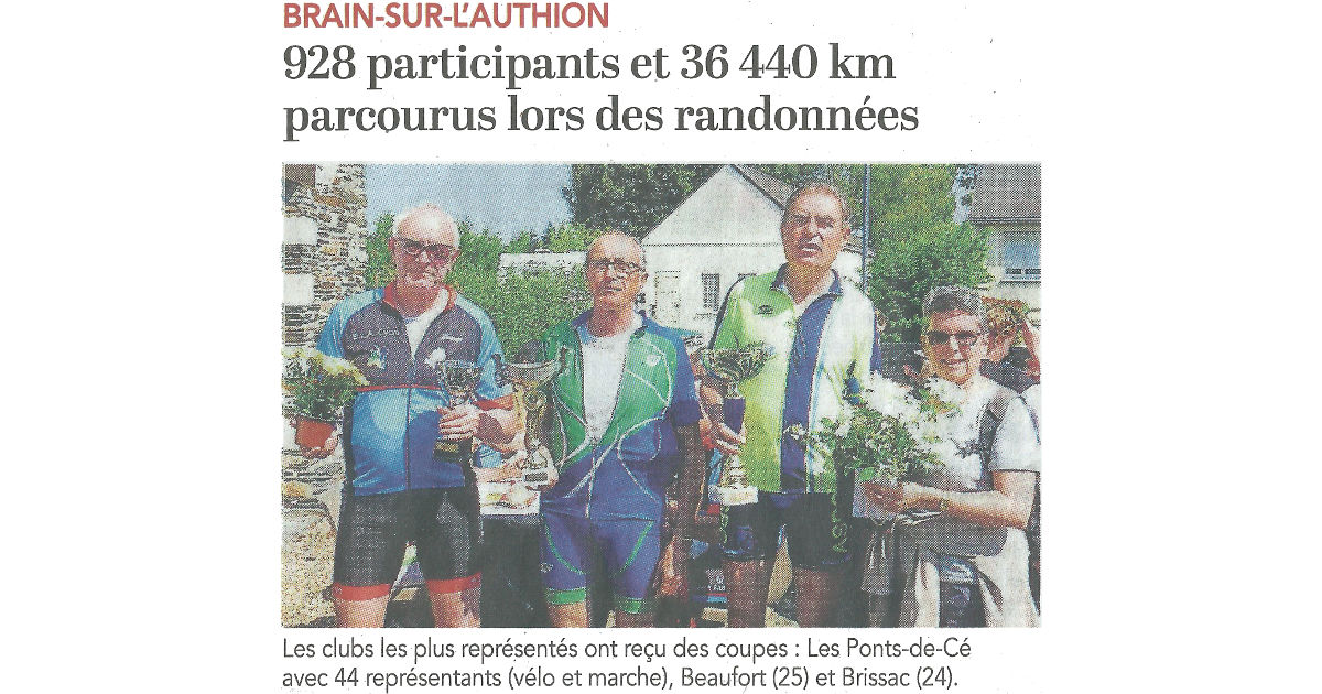 Article du Courrier de l'Ouest du 08 05 2018 - Rando de l Authion